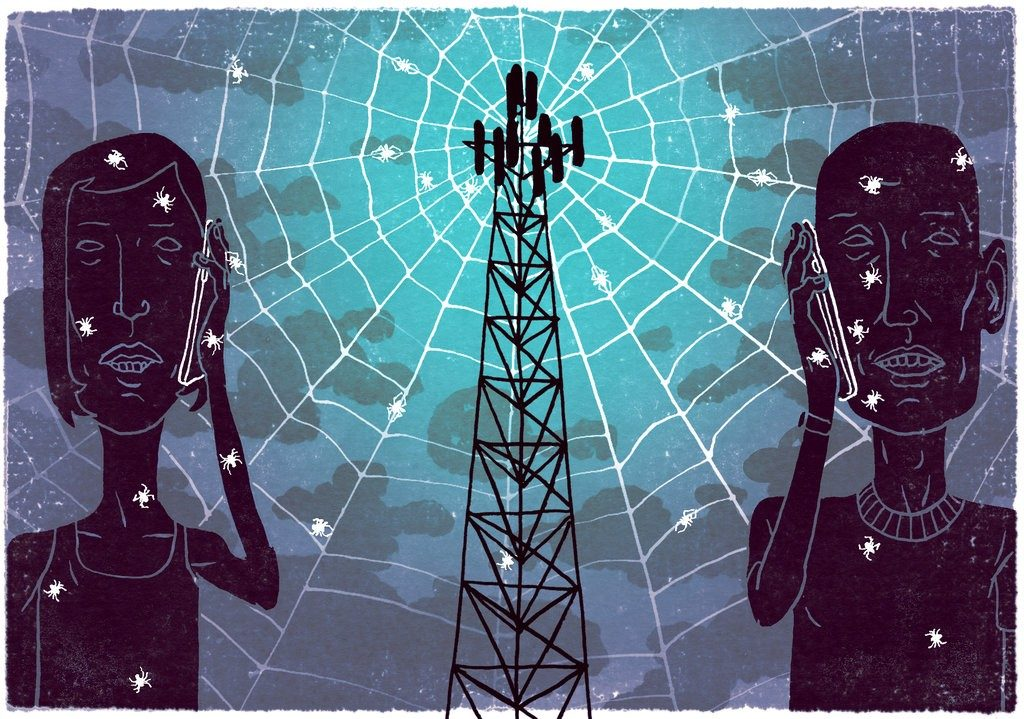 Two men talking about Cyber Security on the phone pinging to cell tower